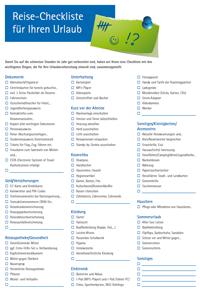 zur Checkliste für Urlaubsreisen